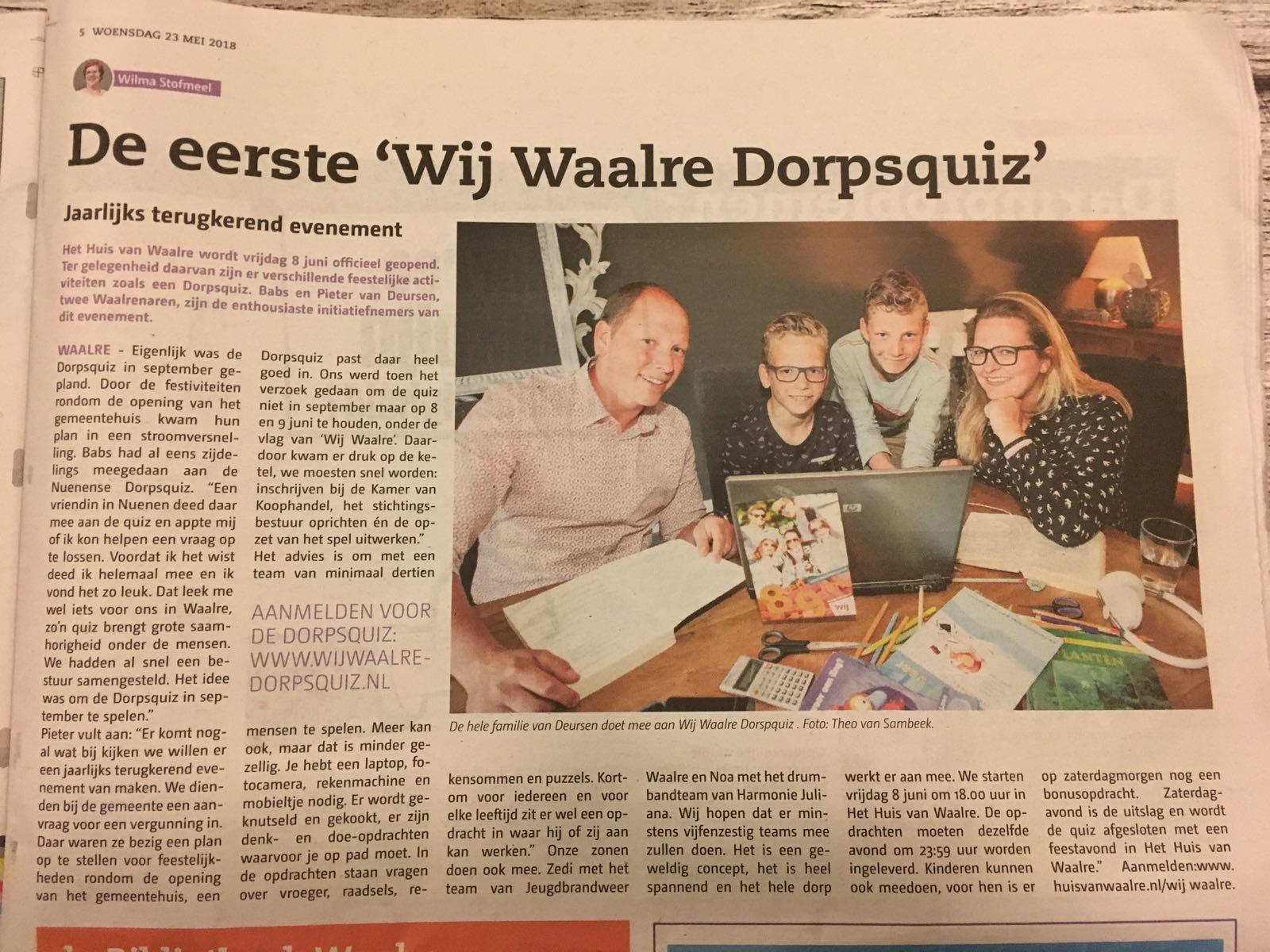 2018-05-20 De Schakel Krantenartikel
